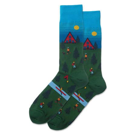 mens cabin scene crew socks