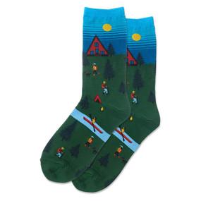 womens cabin scene crew socks