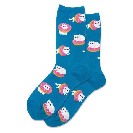 womens donut cat crew socks