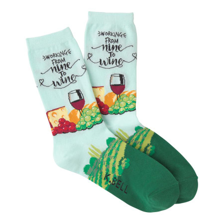 nine to wine womens crew socks