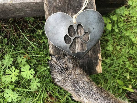 dog paw in heart ornament