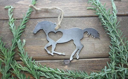 horse running raw steel ornament