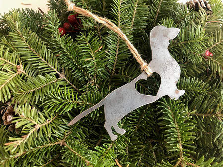 dachshund dog ornament with heart