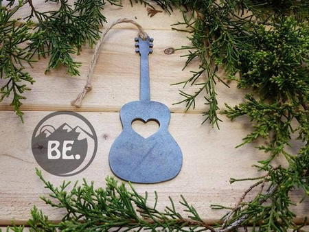 acoustic guitar ornament with heart