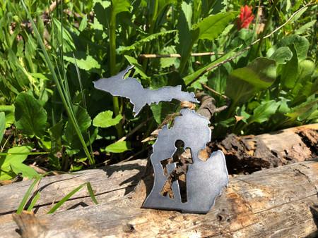 michigan hiker raw steel ornament