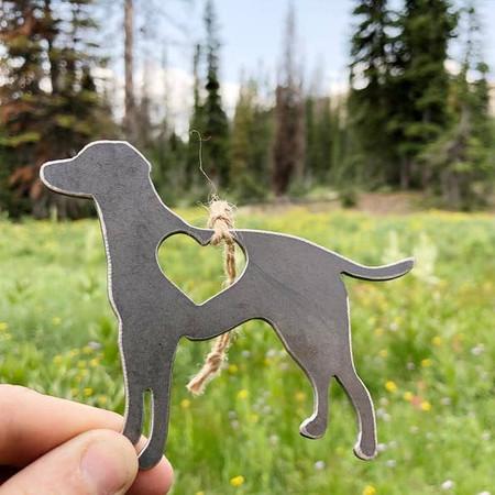 labrador retriever with heart ornament