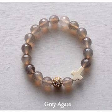thou art with me beaded bracelet, gray agate