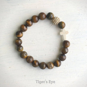 thou art with me beaded bracelet, tiger's eye