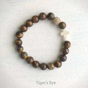 thou art with me beaded bracelet, tiger's eye