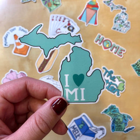 I heart michigan mitten sticker, love