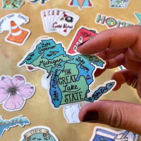the great lakes sticker, michigan
