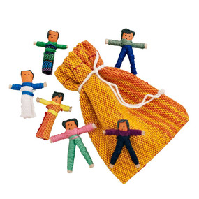 guatemalan worry dolls, 10 miniature dolls