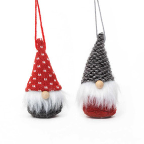 gnome ornament with wood nose, red with white stitch