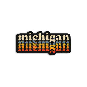 deluxe repeating retro michigan sticker
