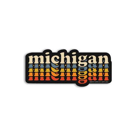 deluxe repeating retro michigan sticker