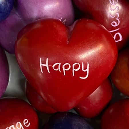 soap stone word heart happy