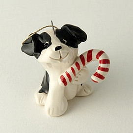candy cane dog ornament