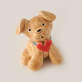 puppy love yellow miniature sculpture