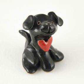 puppy love black miniature sculpture