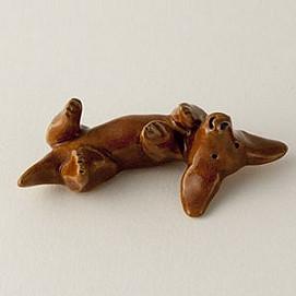 tummy up dachshund miniature sculpture