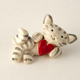 love kitty tabby miniature sculpture
