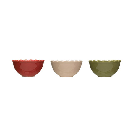 stoneware scalloped bowl, red