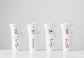 santa's reindeer stoneware mug,