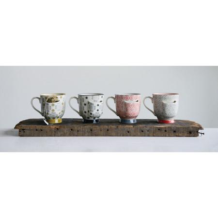 hand-stamped stoneware mug with tea bag holder, yellow