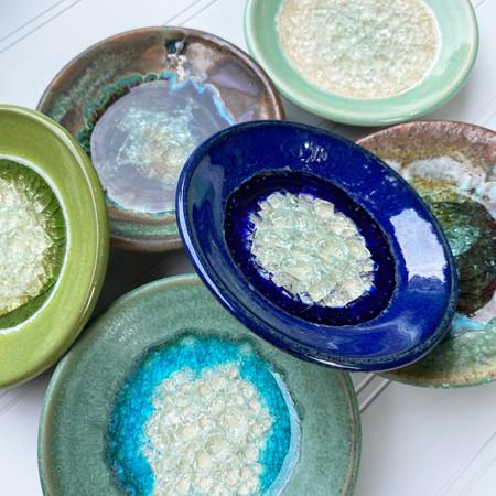 crackle glass trinket dish