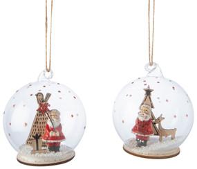 glass dome santa ornament, santa and tree, santa and reindeer
