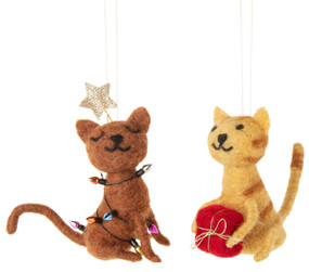felt cat ornament, brown kitty with lights, striped kitty with present