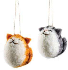 fat cat felt ornament, orange, grey