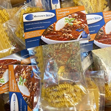 lasagna soup mix, prepackaged soup