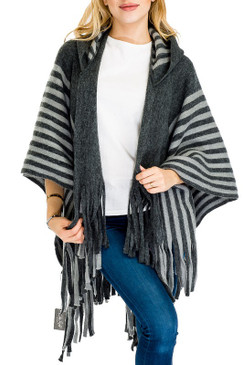 striped hooded poncho, charcoal