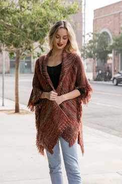marled knit ruana, rust