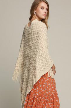 knit crochet poncho, beige