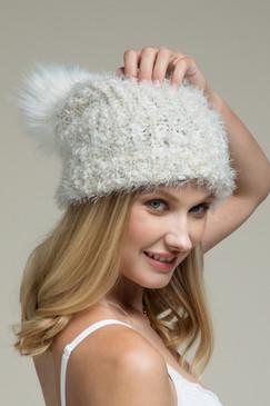 eyelash knit beanie, ivory
