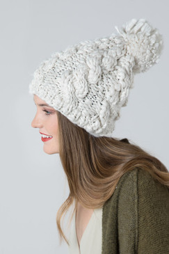 chunky cable knit beanie, oatmeal