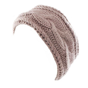 cable knit headwrap with lining, blush