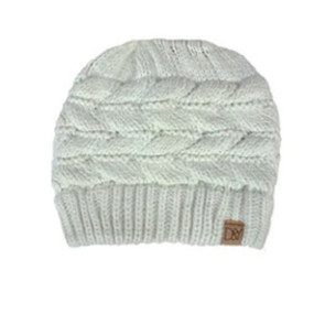 cable knit ponytail beanie - off white
