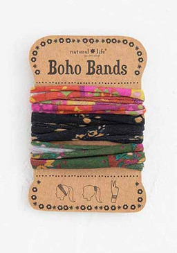 pink black green boho bands