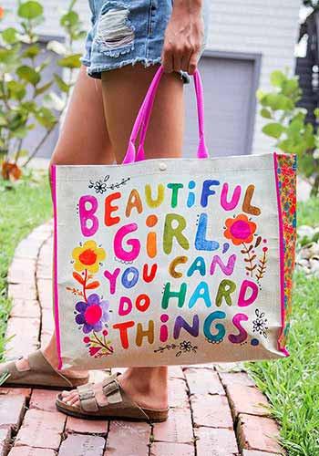 beautiful girl anytime tote bag