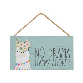 no drama hanging sign