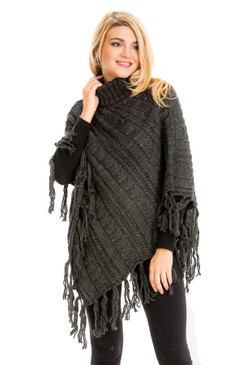 cable knit distressed fringe poncho charcoal