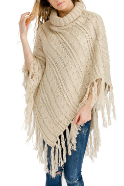 cable knit distressed fringe poncho ivory