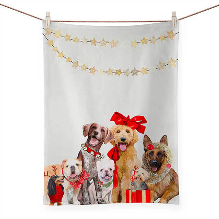 holiday collection - festive puppy tea towel