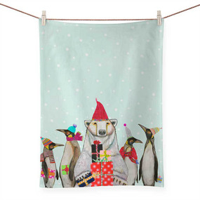holiday collection - polar bear and penguins tea towel