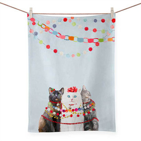 holiday collection - festive cat trio tea towel