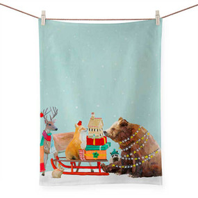 holiday collection - winter sleigh tea towel