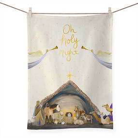 holiday collection - nativity manger tea towel